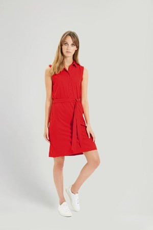 Lenna Shirt Dress in Red