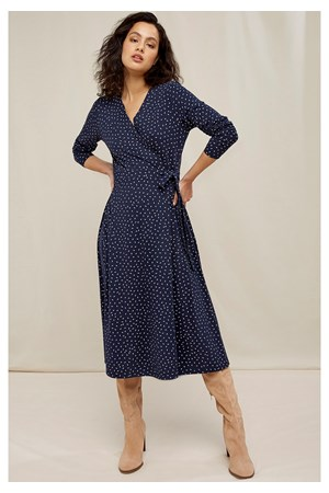 Lisa Leaf Print Wrap Dress