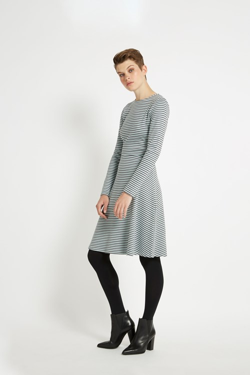 Lola Stripe Dress in Grey stripe