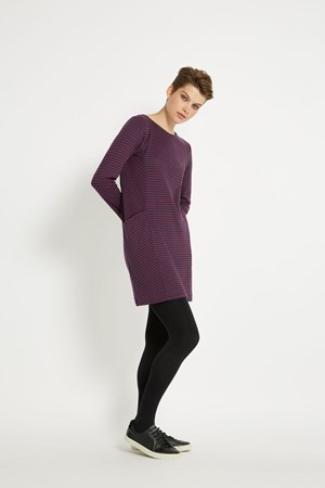 Louise Stripe Dress in Plum stripe