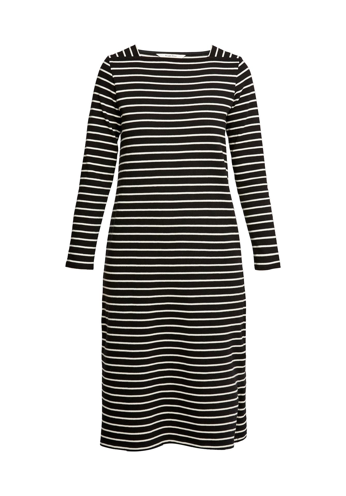 Lucille Stripe Dress in Black and Ecru Cream