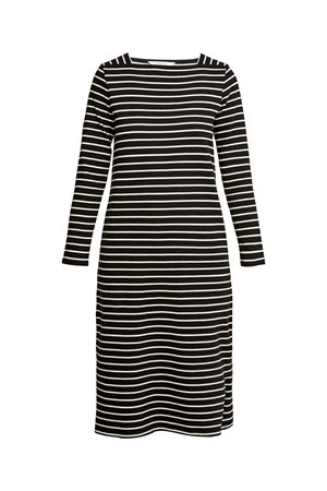 Lucille Stripe Dress in Black and Ecru Cream