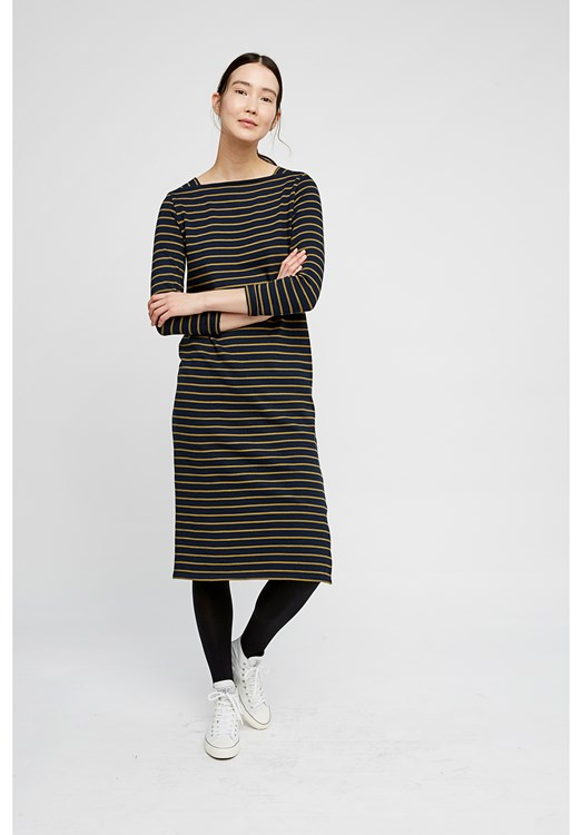 Lucille Stripe Dress in Olive Green and Navy from People Tree