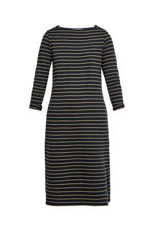 Lucille Stripe Dress in Olive Green and Navy