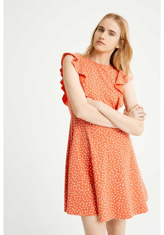 Lulu Floral Dress in Red from People Tree