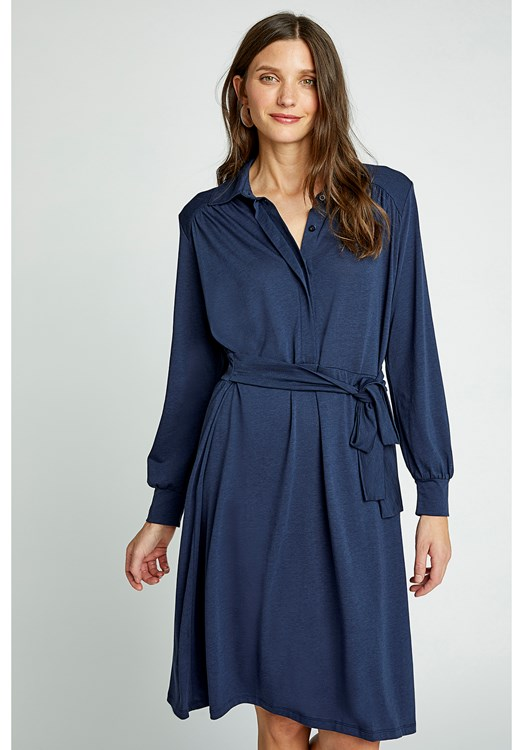 Madeline Shirt Dress in Navy