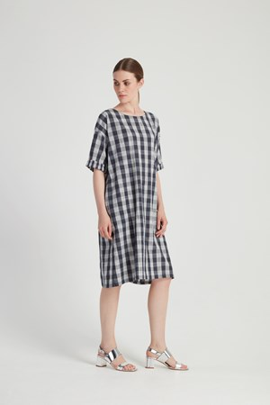Mixed Check Dress in Blue