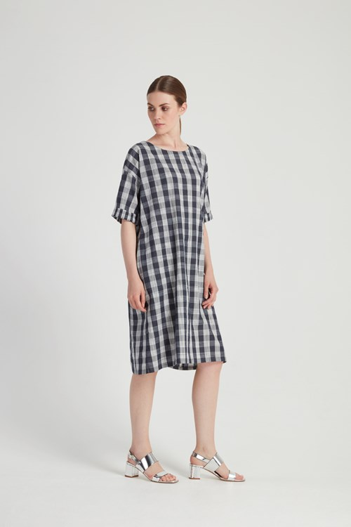 Mixed Check Dress in Blue from People Tree