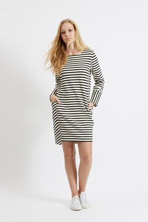 Nadia Stripe Dress in Black