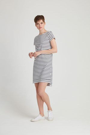 Nita Stripe Dress in Navy