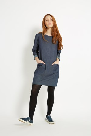 Paula Chambray Dress in Blue