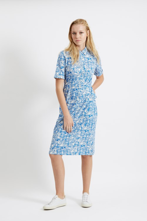 Peter Jensen Gorilla Print Shirt Dress in Blue