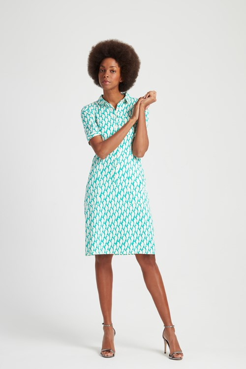 Peter Jensen Parrot Print Shirt Dress in Green