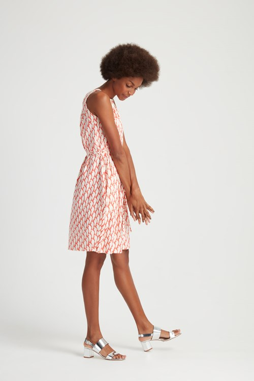 Peter Jensen Parrot Print Sleeveless Dress in Coral