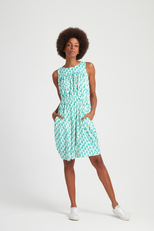 Peter Jensen Parrot Print Sleeveless Dress in Green from People Tree
