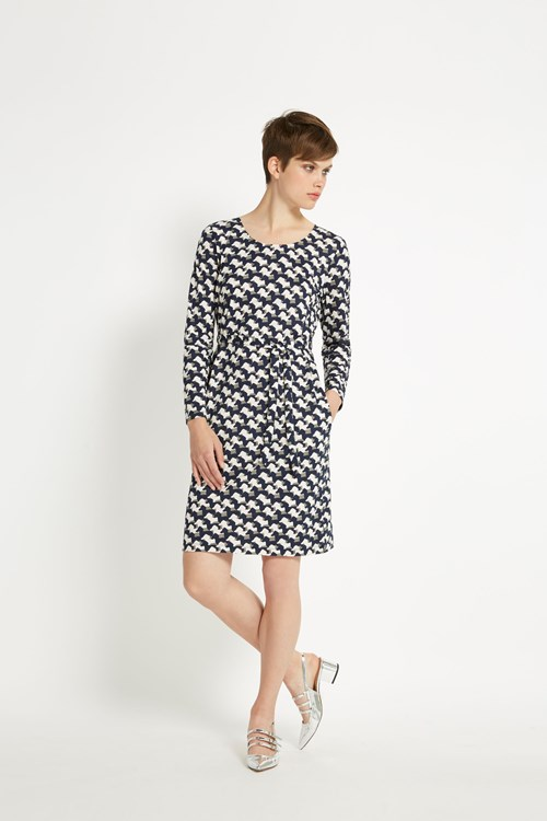Peter Jensen Sausage Dog Tie Waist Dress in Navy multi