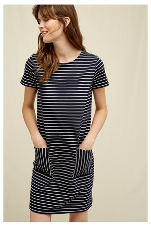 Phoebe Stripe Dress In Navy