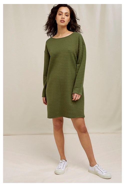 Reagan Quilted Dress In Khaki
