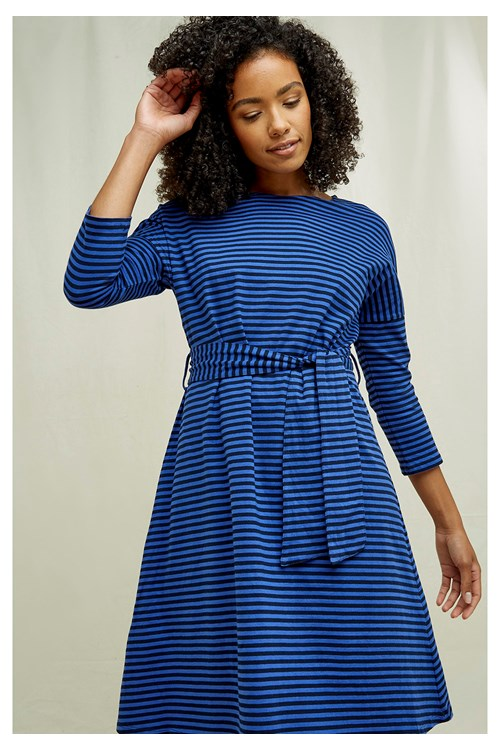 Rikka Stripe Dress In Blue