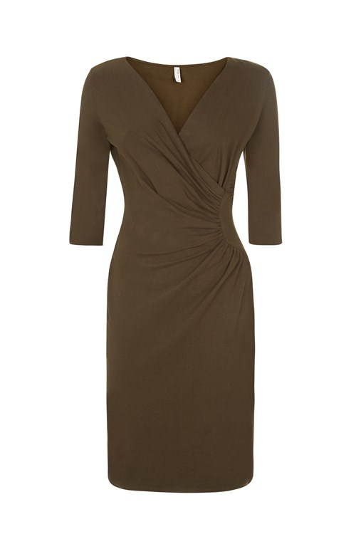 Stella Fitted Dress in Khaki