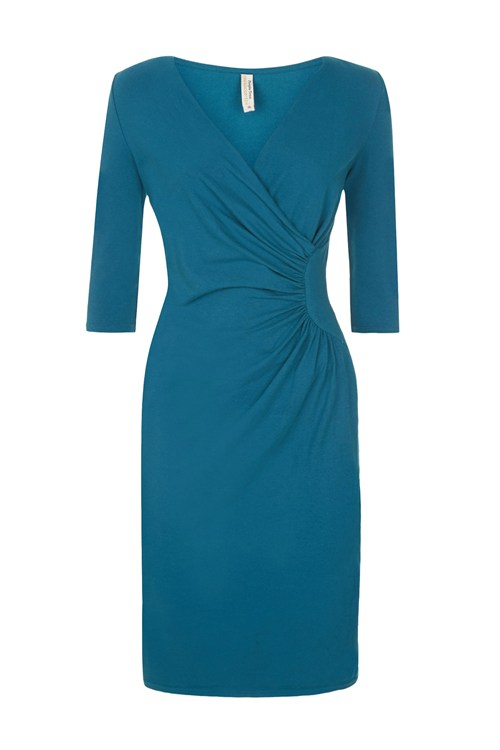 People Tree Stella Fitted Dress In Teal