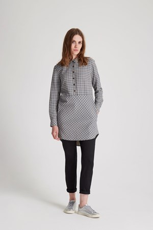 Talia Shirt Tunic in Navy check