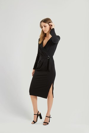 Teagan Wrap Dress in Black