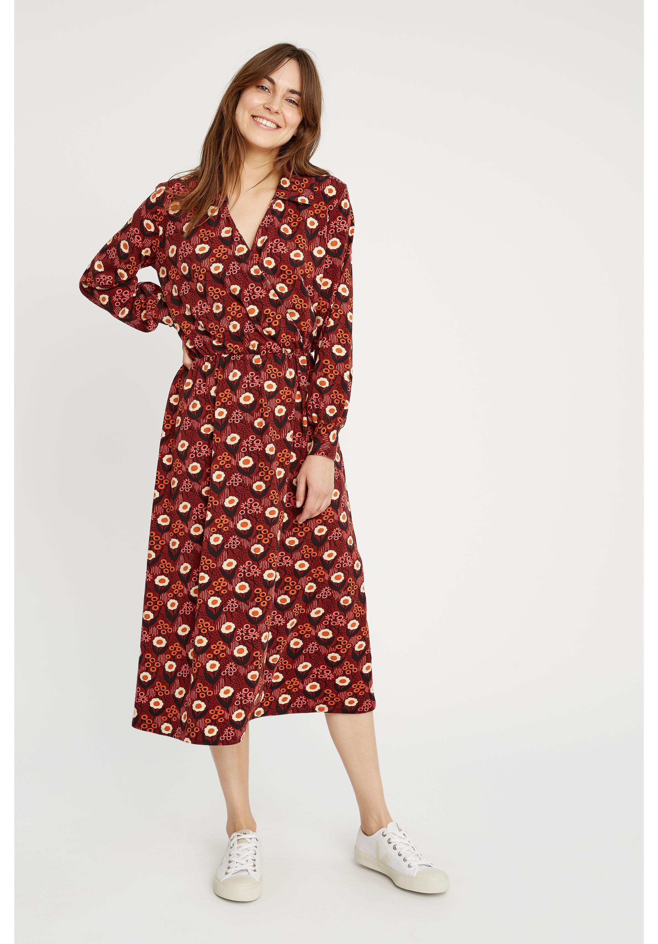 People Tree V&A Daisy Print Midi Dress Sustainable Organic