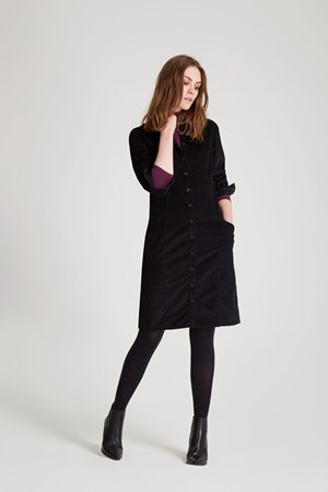 Verena Corduroy Shirt Dress in Black