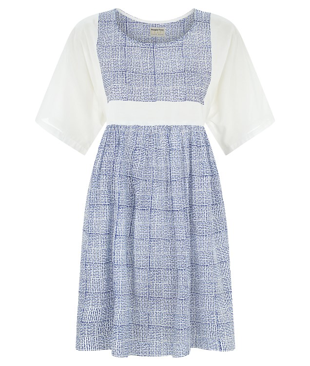Zandra Rhodes Check Tunic in White With Blue