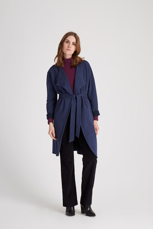 Raina Wrap Coat in Dark blue melange