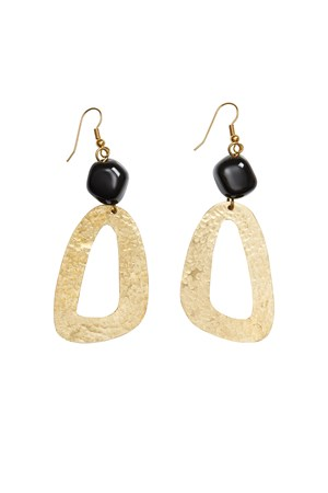 Bead and Shape Earrings in Brass