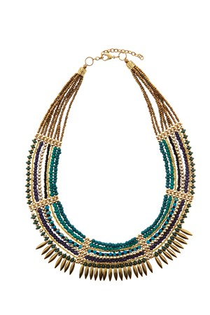 Beaded Collar Necklace in Green