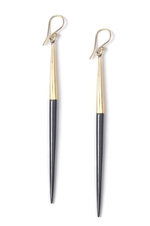 Capped Quill Dangle Earrings Black