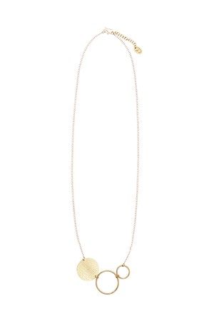 Circle and Disc Necklace in Brass