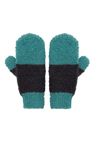 Colour block Mittens  in Grey