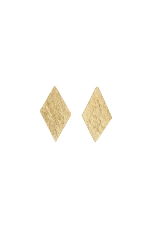 Diamond Shaped Stud Earrings in Brass