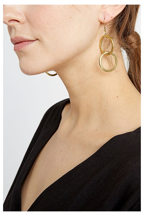 Double Circle Earrings in Brass