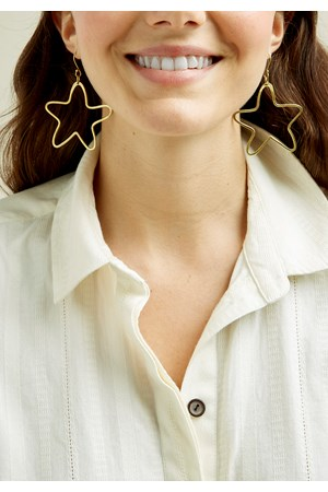 Hollow Star Earrings - Brass