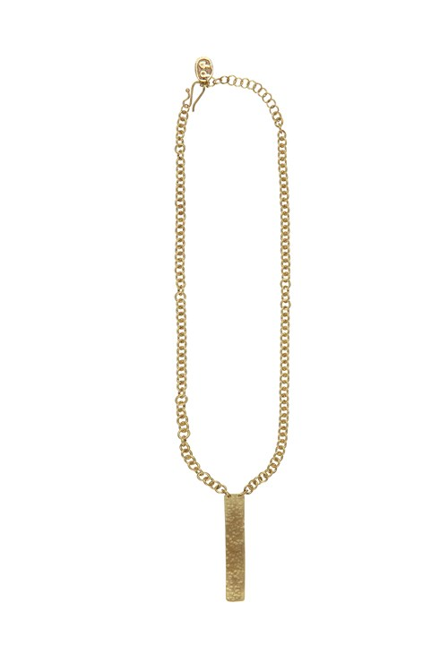 Minimal Post Necklace in Brass