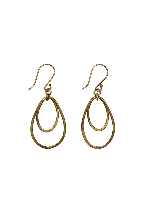 Oval Drop Earrings in Brass