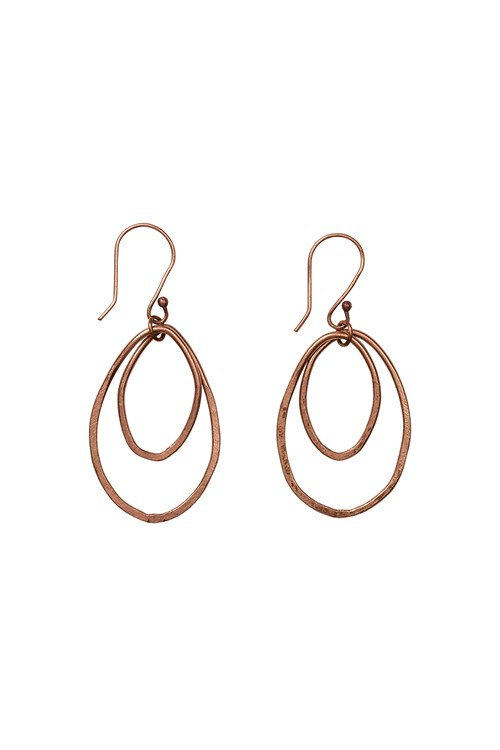 Oval Drop Earrings in Copper
