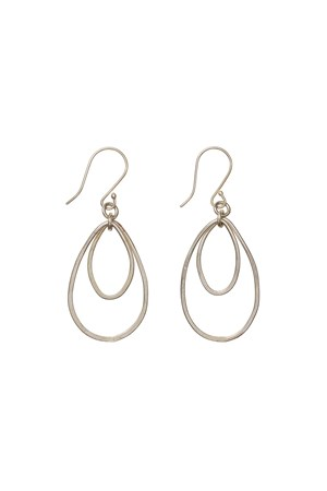 Oval Drop Earrings in Silver