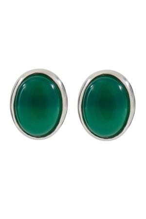 Oval Stud Earrings in Green