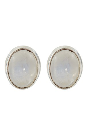Oval Stud Earrings in Rainbow Moonstone
