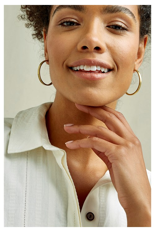 Simple Hoop Earrings - Brass