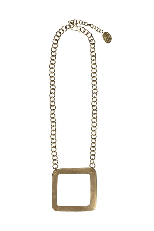 Square Necklace Brass