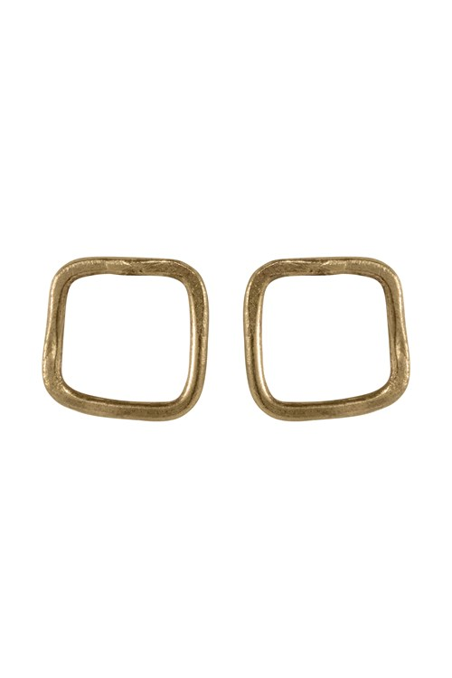 Square Stud Earrings Brass