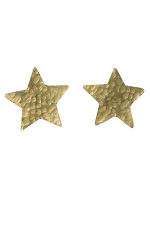 Star Stud Earrings in Brass