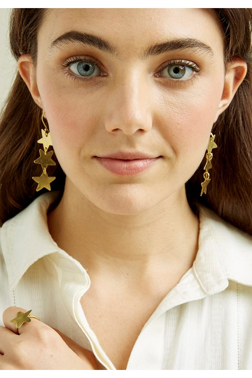Stardrop Earrings - Brass